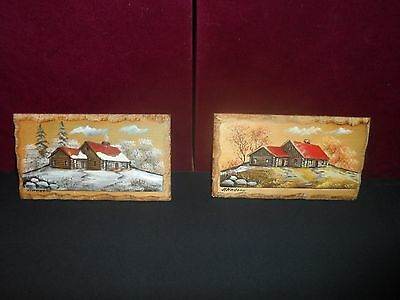 2 Rare Vintage 3D Wall Art Signed H Nadeau Canada Wood house Painted Landscape