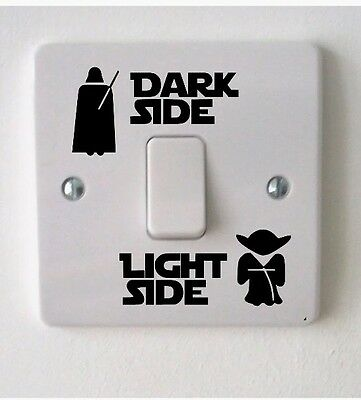 Star Wars Light Switch Sticker vinyl Decal Dark Side Light Side rouge one yoda