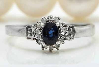 .22 Natural Blue Sapphire and DIAMOND in 18K Solid White Gold Women Ring
