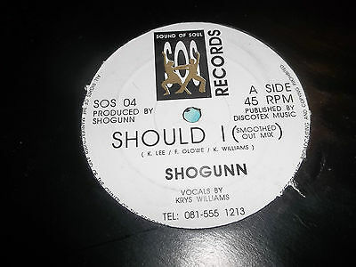 "Shogunn "" Should I "" 12"" House / Funk Vinyl Excellent Sos 04"