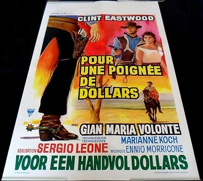 1964 A Fistful Of Dollars ORIGINAL BELGIAN POSTER Sergio Leone Clint Eastwood