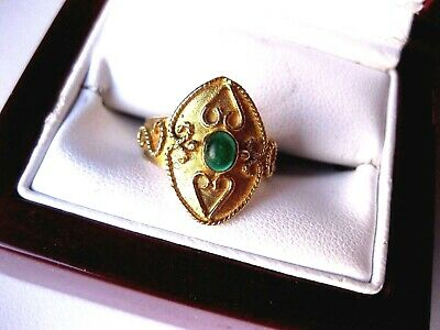 "VINTAGE EUROPEAN 585 YELLOW GOLD RING ""ANCIENT GREEK REVIVAL"" with EMERALD"