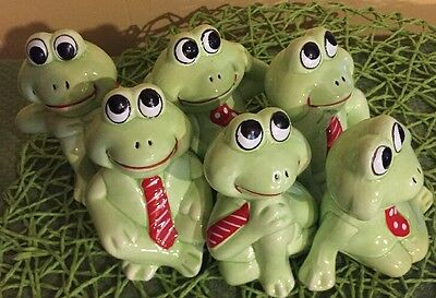 Vintage Frog Figurines Set Lot Red Ties Poses 6 Different Nanco Business Frogs