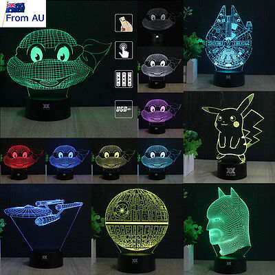 3D Teenage Mutant Ninja Turtles LED Night Light 7Color Table Desk Lamp Xmas Gift