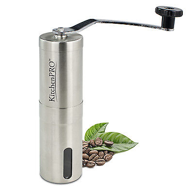KitchenPRO ✪ Portable Manual Stainless Steel Coffee Grinder with Ceramic Burr