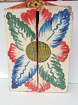 hand made hand painted made from Peru religious carved cabinet