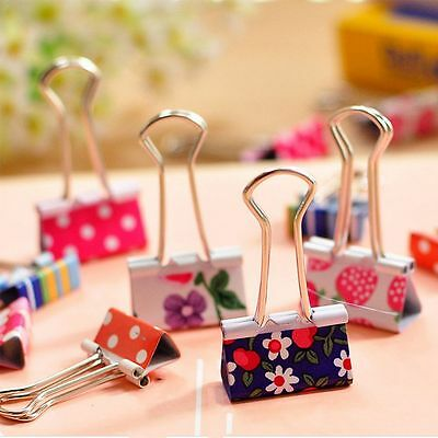 Stationery Flower Clips Cute Color Office Printed Paper Binder Metal 20Pcs
