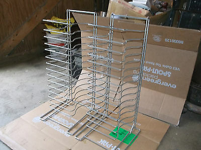2 Commercial 15-Shelf Wire Pizza Pan Rack Used