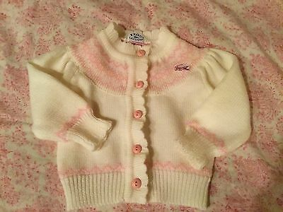 Vintage New Born Baby Girl Doll Izod Lacoste Pink/white Sweater Small