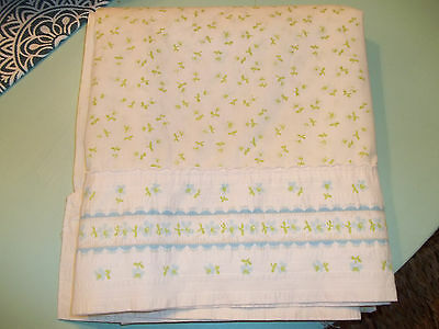 Adorable Full Size Flat Sheet, White W/ Blue & Green Floral Print, Cute!