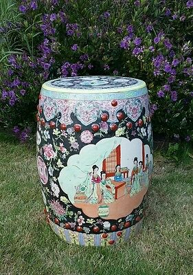 Antique Chinese Garden Stool Table Hand Painted Vintage Oriental
