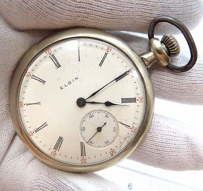 """ELGIN,1910,Model 6,7j,16s,Nickle Plated CASE """"Open Face""""CLASSIC POCKET WATCH,671"""