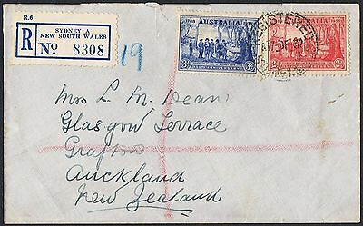 1937 NSW Sesqui 2d & 3d on 1937 registered cover to NZ TS345