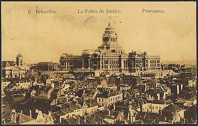 1910 Palace of Justice postcard with 1910 Brussels Exhib Cinderella TS381