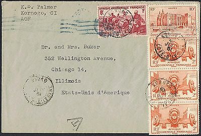French West Africa: 1961 cover to the USA with multi-colour franking TS370