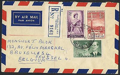 1954 Royal Visit 7½d & 2/- etc on 1954 registered airmail cover to Belgium TS387