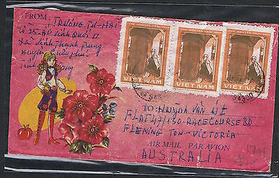 1981 all over illustrated airmail cover to Melb with 1d Nguyen Trai x 5 MS441