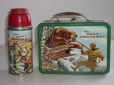Vintage 1955 Holtemp Davy Crockett Lunch Box & Thermos - Very Good Condition!