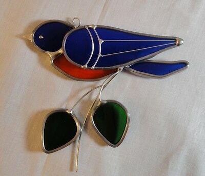 Stained Glass Blue Bird Suncatcher Handcrafted in the USA 4.5 inches