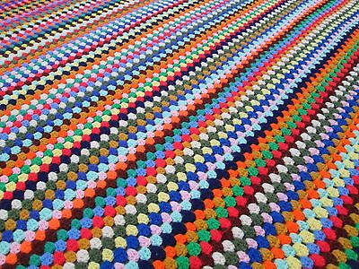 "Vintage 59""x56"" Multicolored Stripes Striped Fab Crocheted Afghan Throw Retro"