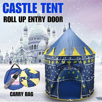 Kids Children Play Tent Castle Princess Playhouse Toy Party Blue Home Outdoor