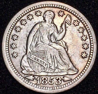 1853 W/Arrows H10C Liberty Seated Half Dime H2644