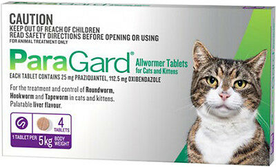 ParaGard Allwormer for Cats Worming Tablet to Worm Cats Free Shipping