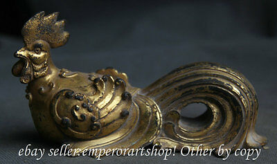 """6"""" Antique Chinese Dynasty Bronze 24K Gold Zodiac Year Cock Rooster Chook Statue"""