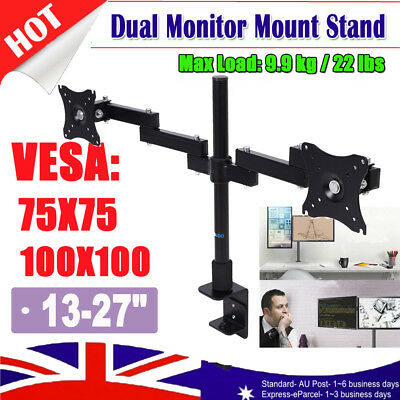 Dual HD LED Desk Monitor Stand Mount Bracket 2 Arms Holds Two LCD Screen TV AU