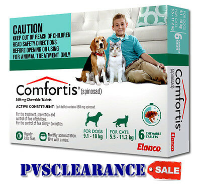 Comfortis Green for Medium Dogs 9.1 - 18 kg & Cats 5.5 - 11.2 kg - EXP 01/2018