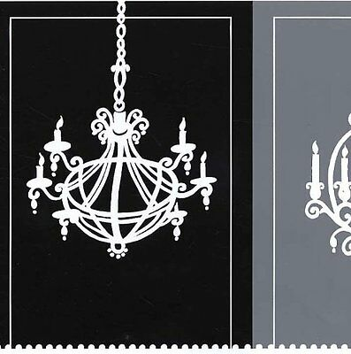 Wallpaper Border - Victorian Style White Chandelier Silhouette on Gray and Black