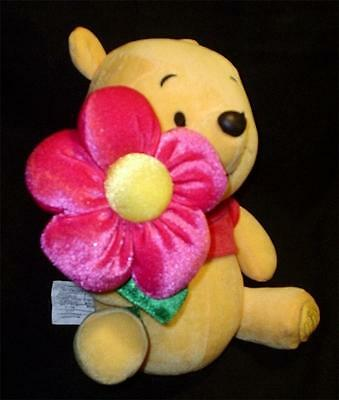 """Adorable Disney Store  Exclusive Winnie the Pooh n Pink Flower 2005 8"""" T x 6""""  W"""