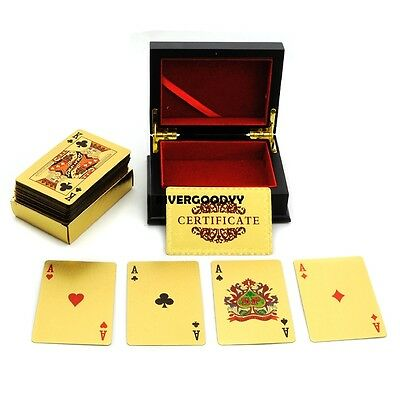 24K Gold Foil Plated EUR Poker Playing Cards $100 + Wood Box + Certificate VGY