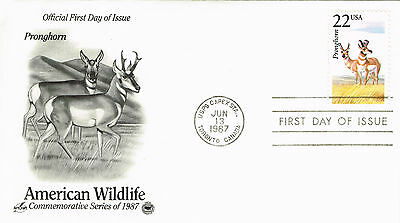 U S First Day Cover 1987 American Wildlife Series Pronghorn Embossed Lettering