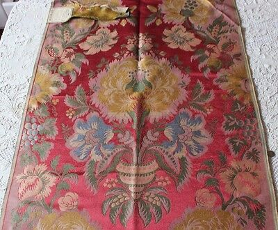 "Antique French 19thC Silk Brocatelle Home Textile Fabric Sample~1 yd L X 25""W"