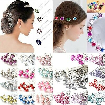 10Pcs Women Girls Mixed Color Foral Crystal Rhinestone Hair Pin Pins For Wedding