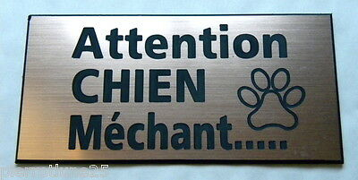 plaque gravée ATTENTION  CHIEN MECHANT format 48 x 100 mm