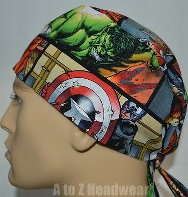 Marvel Avengers Horizontal Comic Patch TRADITIONAL Unisex Surgical Scrub Hat Cap