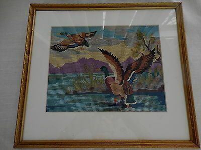 Craft Cross Stitch Vintage Teal Ducks Completed And Framed