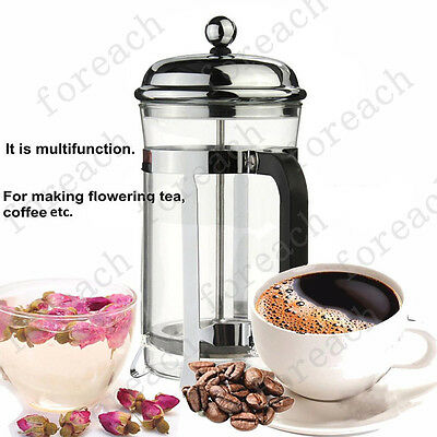 600ml Filter Glass Coffee Cup French Plunger Press Tea Maker Stainless Steel