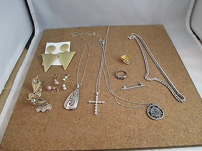 Vintage jewelry lot Inlay ring Geometric statement earrings Cross necklace