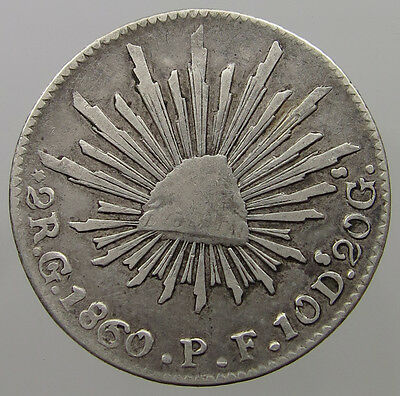 Mexico 2 Reales 1860 Go  #lm 463