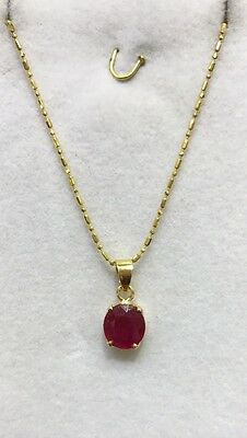 14k Solid Yellow Gold Pendant &Necklace (2.81GM)Natural Ruby 18 Inches