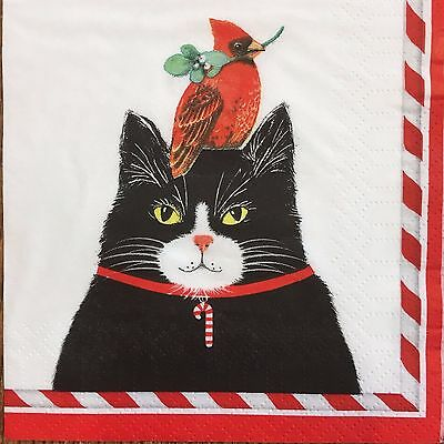 2 single paper napkins Decoupage Crafts Collection (cocktail size) the Cat Bird