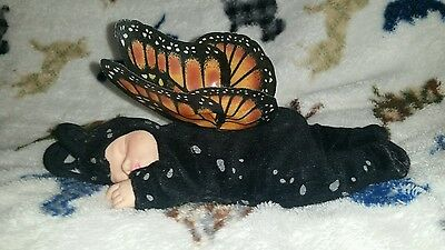 NWOT Anne Geddes Black Monarch Sleeping Baby W/ Butterfly Wings Plush Toy Doll