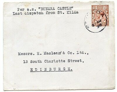 """1930 cover with KGV 1½d """"Last dispatch from St Kilda"""" sent to Edinburgh."""