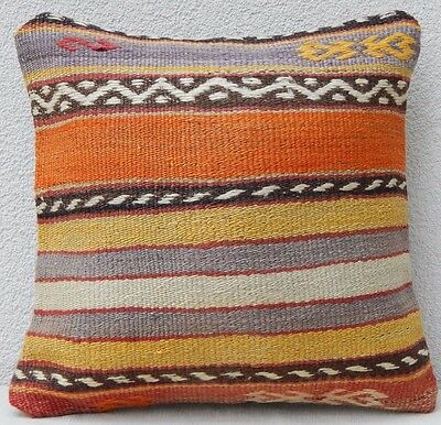 Patterned Kilim Pillow 16x16 inch Kilim Rug Pillow Cover Decorative Throw Pillow
