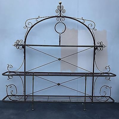 Large French Antique Iron Bakers Stand - Outdoor/ Indoor Storage Shelves Feature