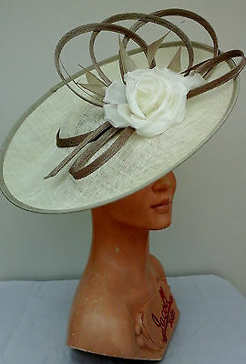 Ladies Whiteley/Maddox Headpiece in Ivory/Latte Wedding/Races/Mother ofthe Bride