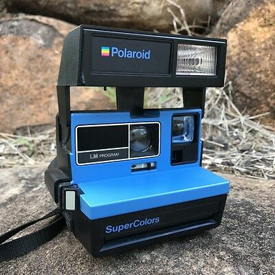 Polaroid SUPERCOLORS Vintage Instant Film Camera Fully Working - RARE BLUE!
